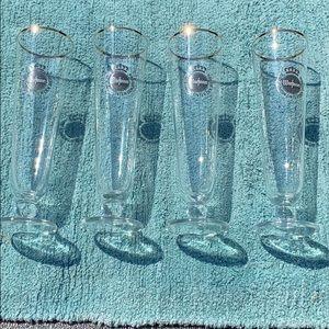 4 Gold Rimmed Warsteiner Beer Pilsner Glasses